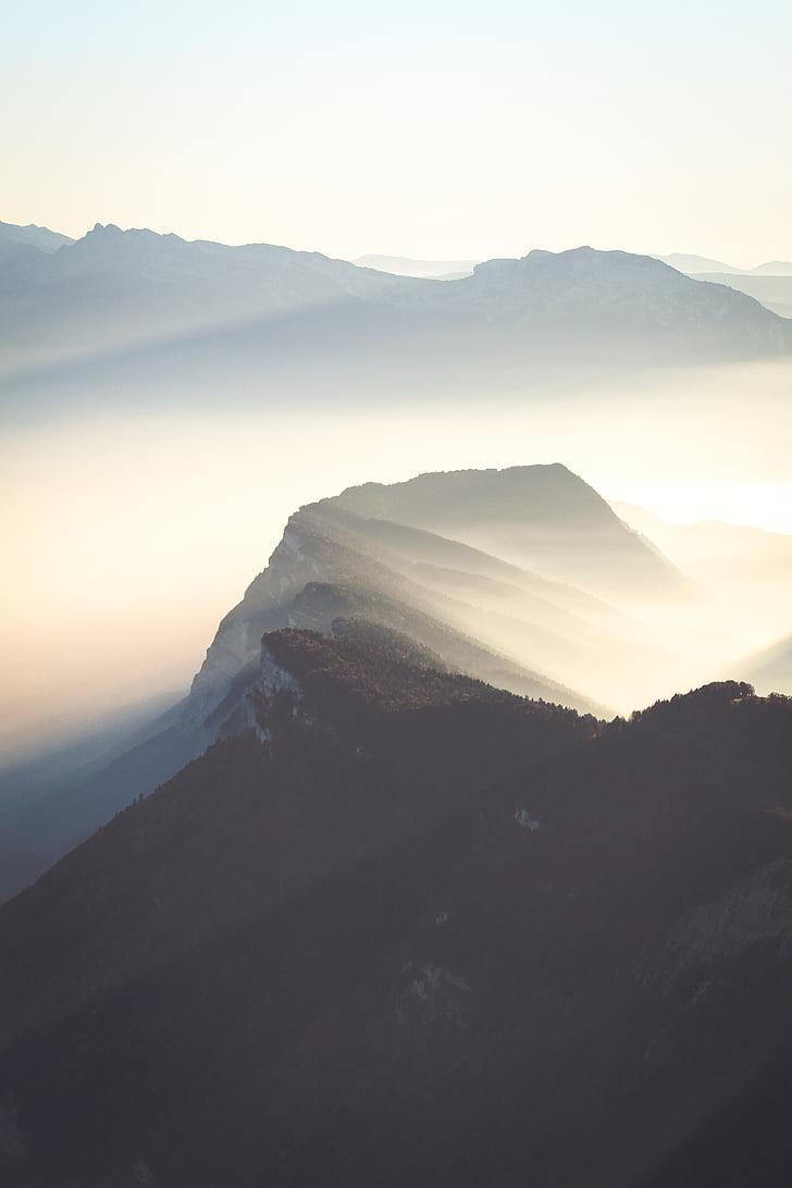 photo, mountain, covered, fogs, sunrise, mist mountain, mountain ridge