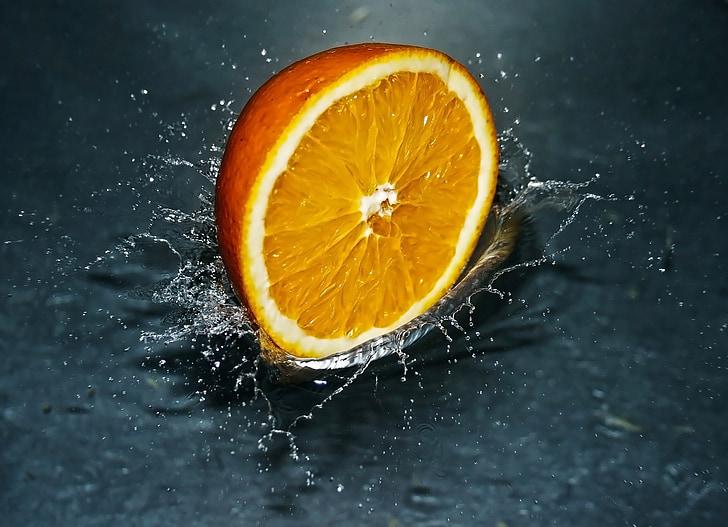 taronja, caient, l'aigua, esquitxades, fresc, fruita, aliments
