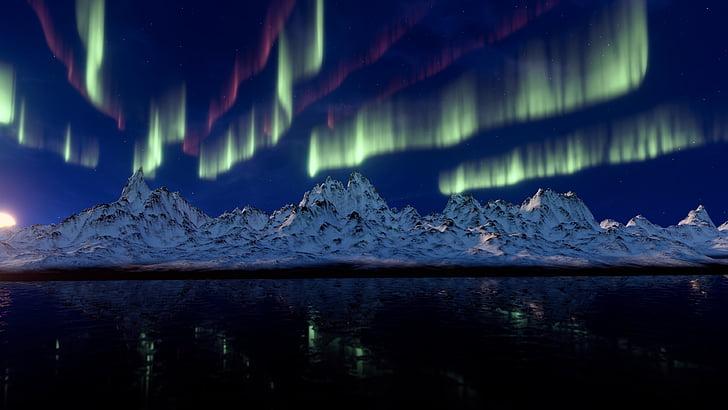 nordlys, bjerge, Aurora australis, solvinden, Aurora, lys fænomen, lys