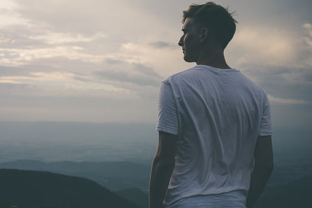 home, peu, mirant, mascle, cel, l'aigua, natura