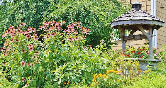 ガーデン, ウィッシングウェル, 木製, 花, 国, 自然, 春