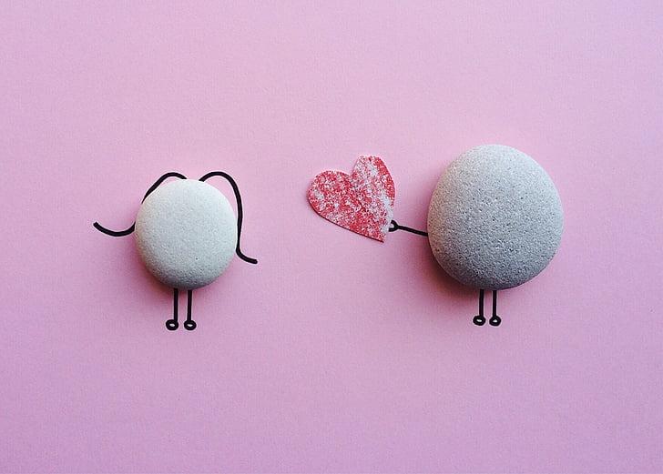 valentine's day, rock, art, craft, love, studio shot, pink background