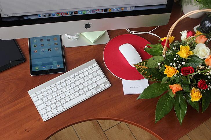 kvety, kancelária, iPad, počítač, myš, Technológia, Počítačová klávesnica