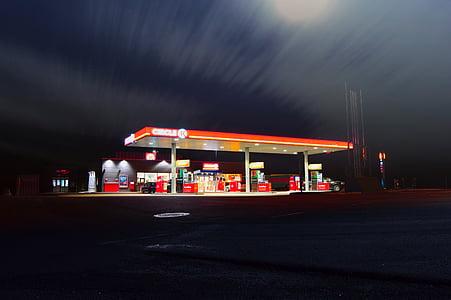 dark, night, filling, gas, station, fuel, illuminated
