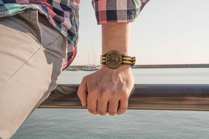 relojes de madera, un reloj, lado del mar, mar, Costa, Italia