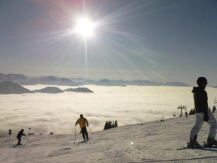 tåge, skiløb, solen, Dream day, Ski run, sne, vinter