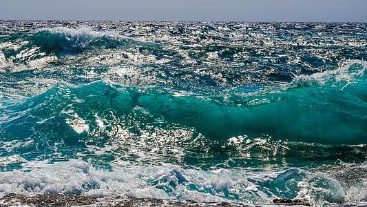 ona, escuma, esprai, Mar, natura, vent, poder