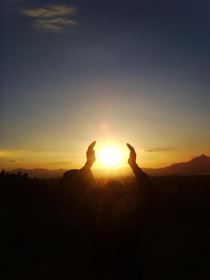 solen, holde, lys