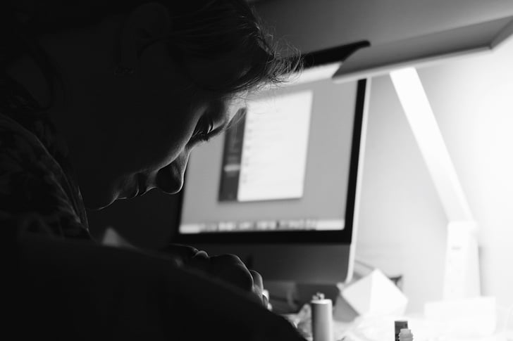 apple, black-and-white, computer, imac, overtime, screen, woman