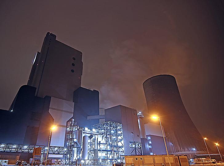 kolengestookte elektriciteitscentrale, kernreactoren, kerncentrale, koeltoren, industrie, huidige, energie