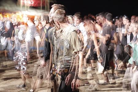 cilvēku pūlis, pūlis, cilvēki, aizmiglot, kustība, grupa, auditorija