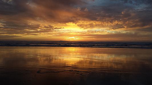 posta de sol, platja, l'aigua, posta de sol de platja, oceà, Mar, vacances