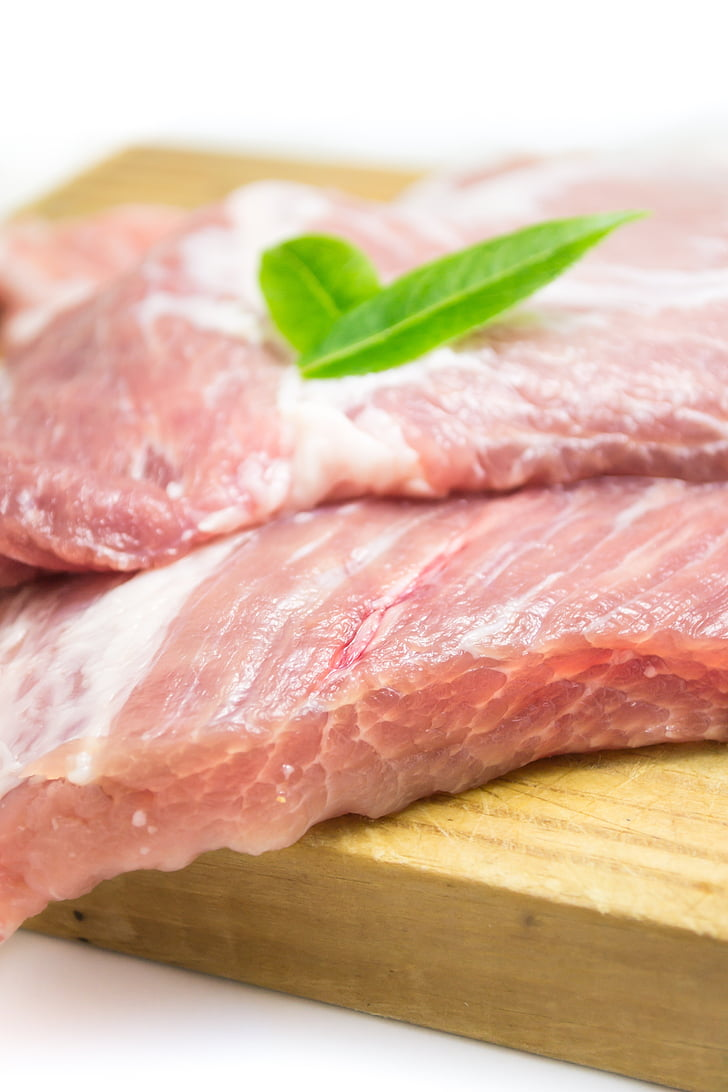 aizveriet, foto, gaļa, cūkgaļa, jēlu gaļu, pārtika, gaļas izciršanas