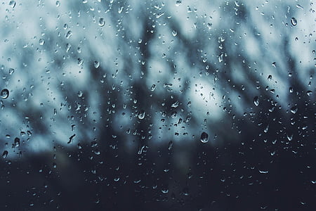 wet, glass, dark, rain, water, drops, raindrop