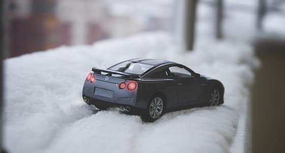 zimno, lód, makro, miniaturowe, śnieg, Samochodzik