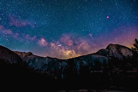 fotografia, muntanya, nit, temps, fosc, galàxia, estrella