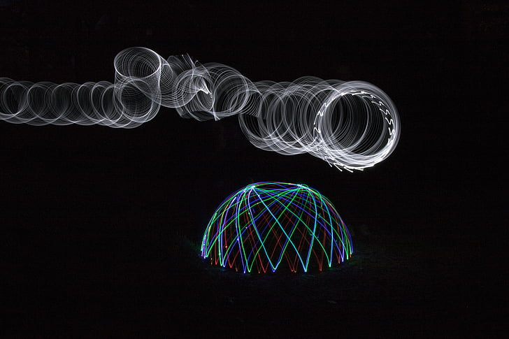 luz domo, luz, luces, noche, proyección, iluminación, bola de luz
