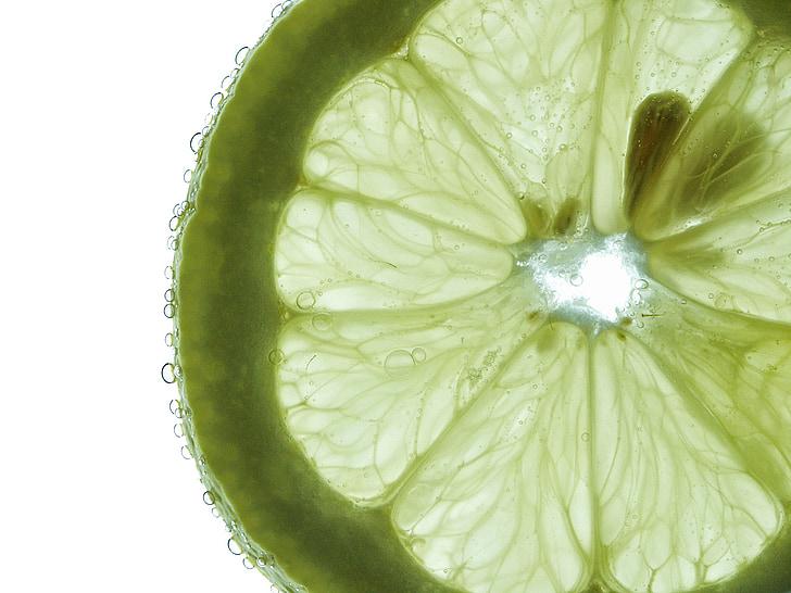 Frisch, acqua, goccia a goccia, macro, verde, calce, frutta