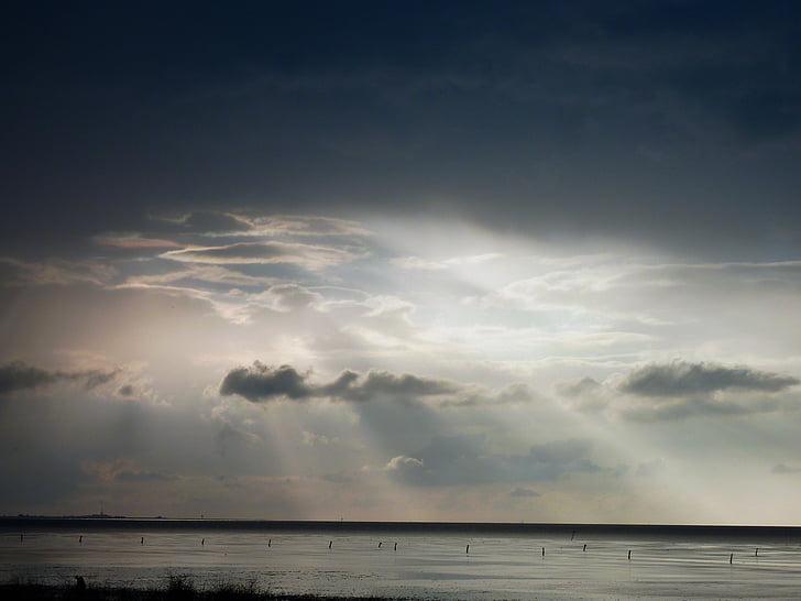 ηλιοβασίλεμα, σούρουπο, abendstimmung, ουρανός, το βράδυ, βραδινό ουρανό, σύννεφα