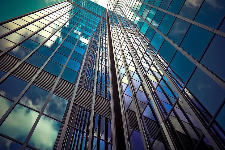 építészet, felhőkarcoló, üveg homlokzatok, modern, homlokzat, Sky, épület