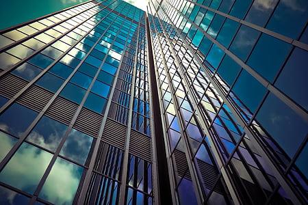 Architektura, mrakodrap, prosklených fasád, moderní, fasáda, obloha, budova