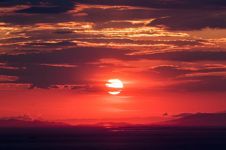 à noite, céu, nuvens, lua, luz, modo de exibição, pôr do sol