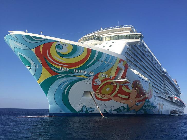krydstogt, ferie krydstogt, Caraibien, krydstogtskib, skib, Caribisk blå