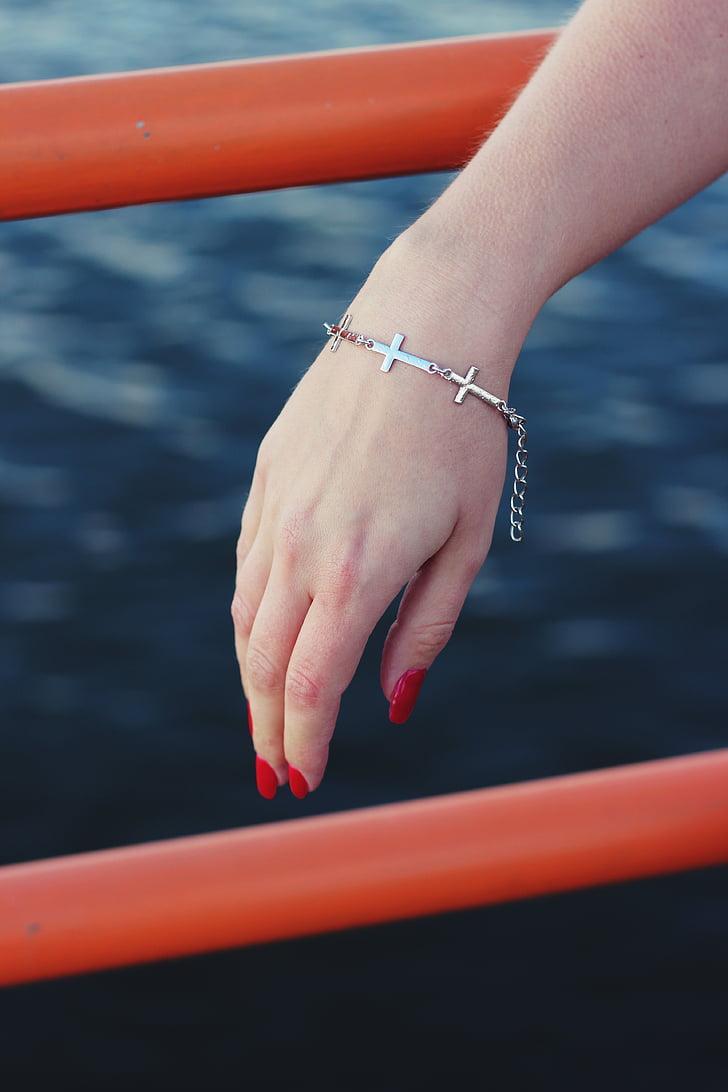 armbånd, smykker, hånd, menneskelige hånd, vand