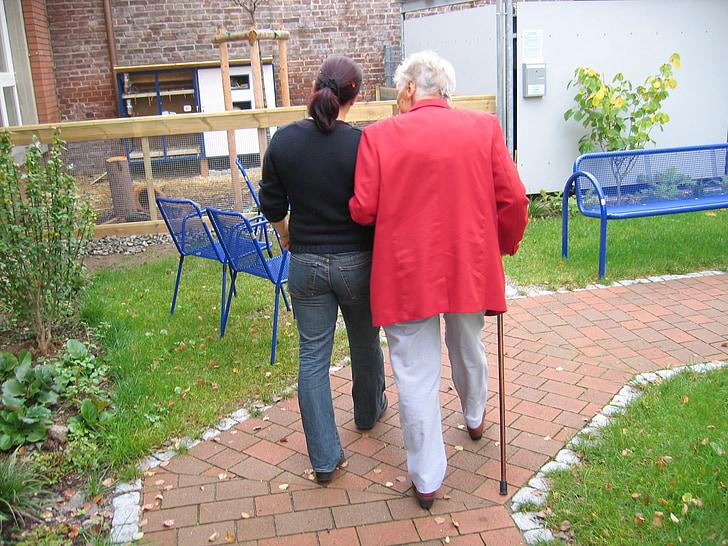 závislá, demence, Žena, staré, věk, Alzheimerovou chorobou, domov důchodců