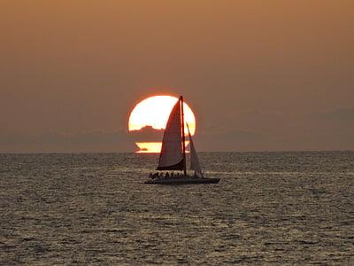 vaixell, posta de sol, Mar, platja, horitzó