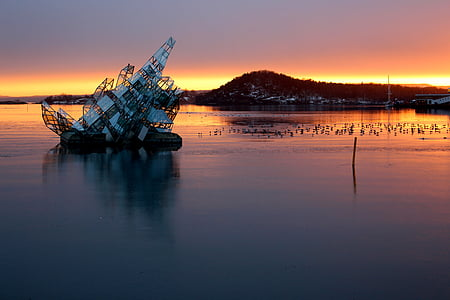 Oslo, Norge, Oslofjorden, hamn, staden, Scandinavia, vinter