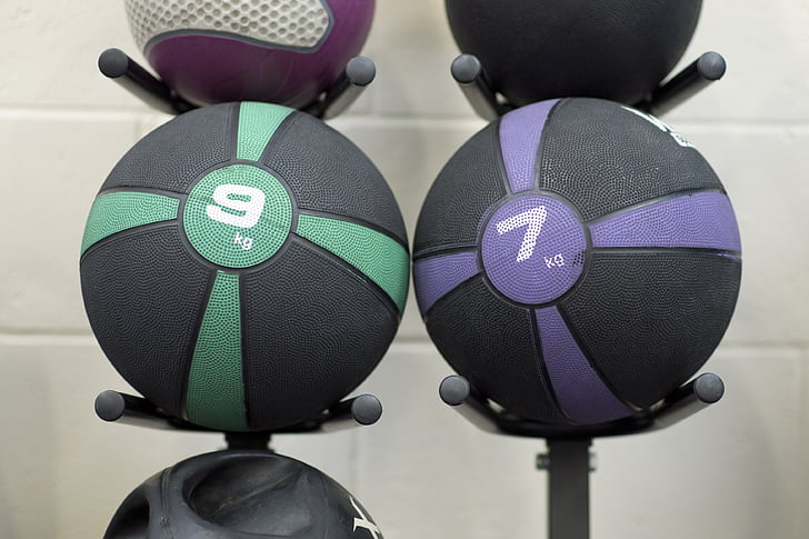 fitness, medicine lopti, teretana, vježba, sportski