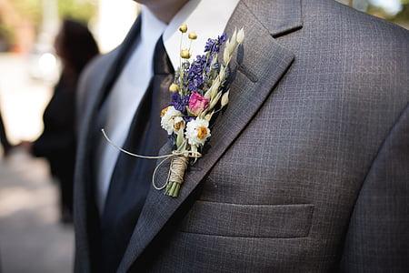 boutonniere, groomsman, wedding, flower, groom, ceremony, celebration