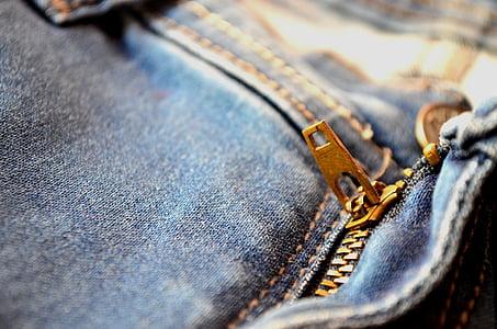 邮编, 拉链, 飞, 牛仔裤, 蓝色, 口袋里, 时尚