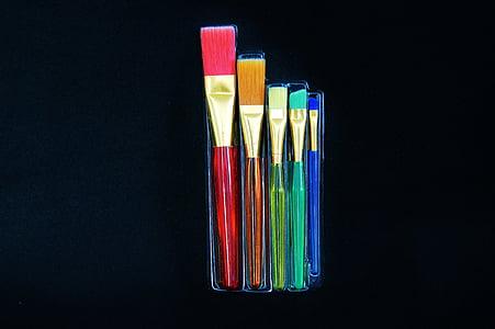 conjunt pinzell, cosmètica, color, equips