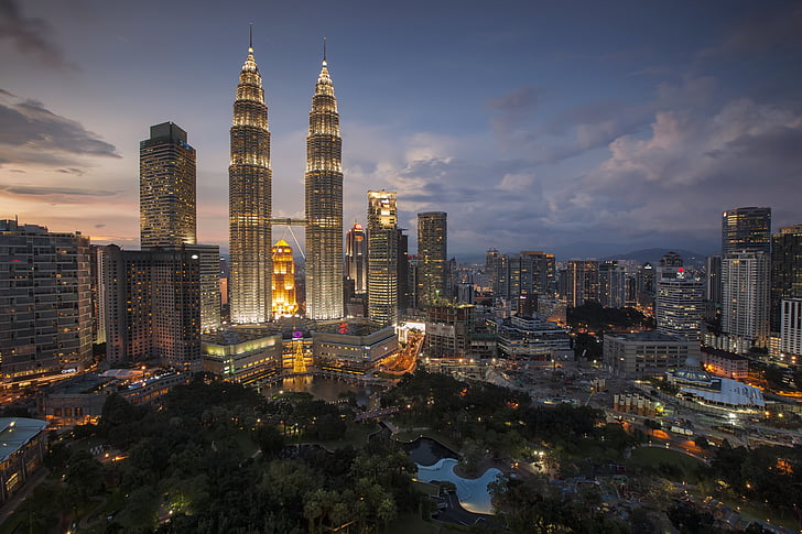 buildings, business, city, cityscape, kuala lumpur, lights, Malaysia