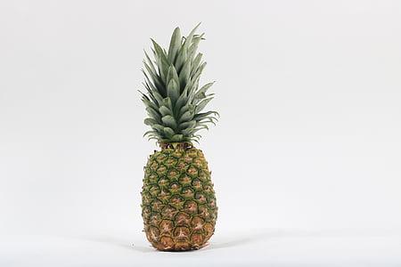 tropsko voće, ananas, voće, bijela pozadina, hrana, hrana i piće, Studio pucao