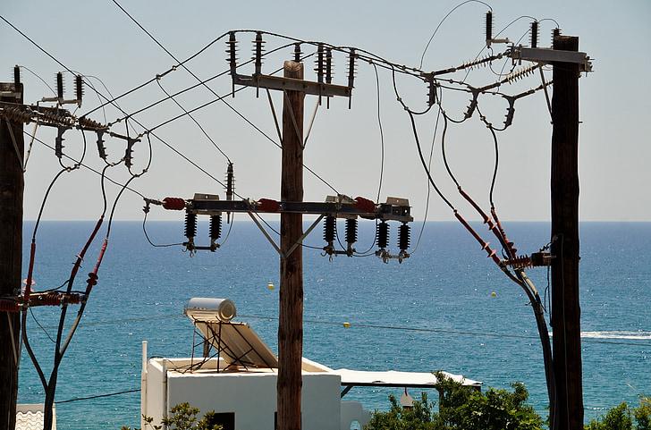 wires, electric, leadership, column, mast, energy, sea