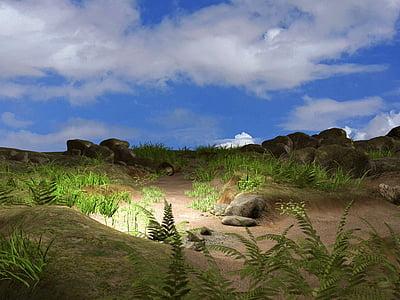 landscape, fantasy, sky, clouds, fairy tales, background, romantic