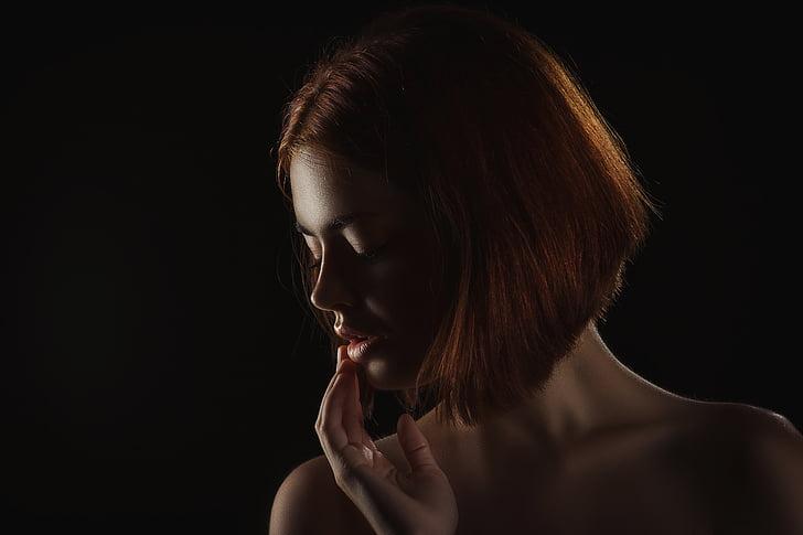 model, girl, woman, portrait, sensual lips