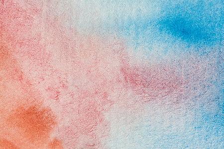 aquarel·la, fons, fons, paper fet a mà, estructura, taronja, blau