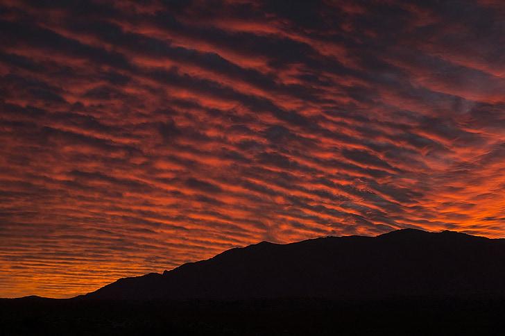 lever du soleil, paysage, Sky, nuages, coloré, silhouette, collines