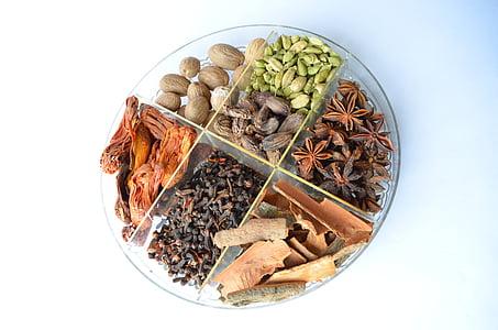 Спеції, чаша, кардамоном, продукти харчування, інгредієнти, приготування їжі, смак