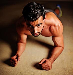 atbilst, fitnesa, trenažieru zāle, Indijas, treniņa, tikai viens cilvēks, tikai viens jauneklis