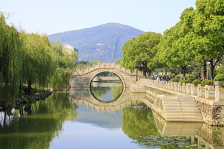 bridge, running water, trees, wuxi, china, river, reflection