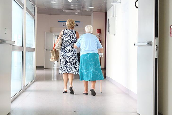 ældre, korridor, læge, kvinder, folk, indendørs