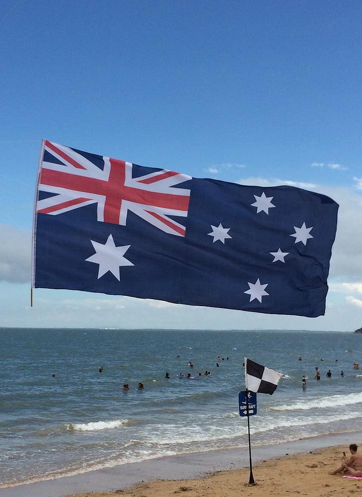 der Australia day, australische Flagge, Strand