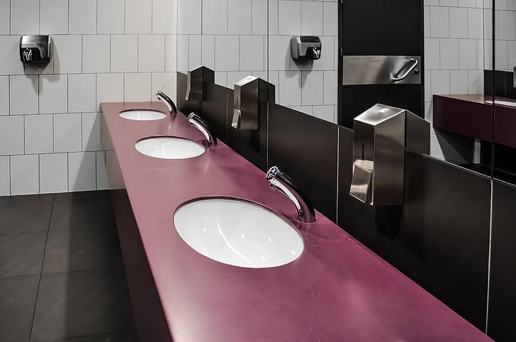 WC, vaso sanitário, puramente, banheiro público, casa de banho, espelho, espelhos