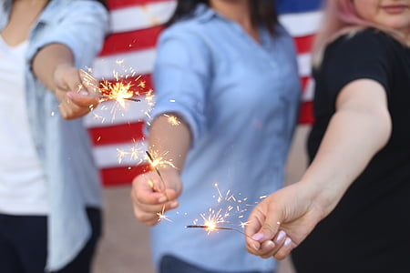 three, woman, holding, sparkler, firecrackers, sparklers, people