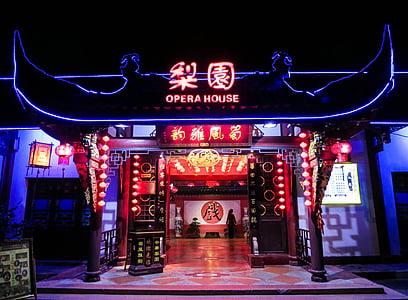 opera house, lights, dark, night, entertainment, neon, signs